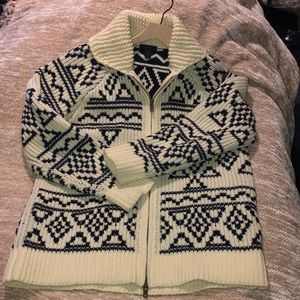 J. Crew Abstract Fair Isle Zip Cardigan Sweater